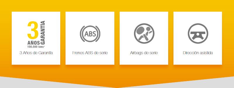 3 años de garantía. ABS de serie. Airbags de serie. Dirección asistida.